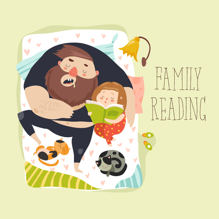 Cute daughter reading bedtime story to his father Illustration