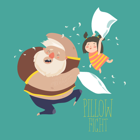 Dad and daughter playing pillow Illustration