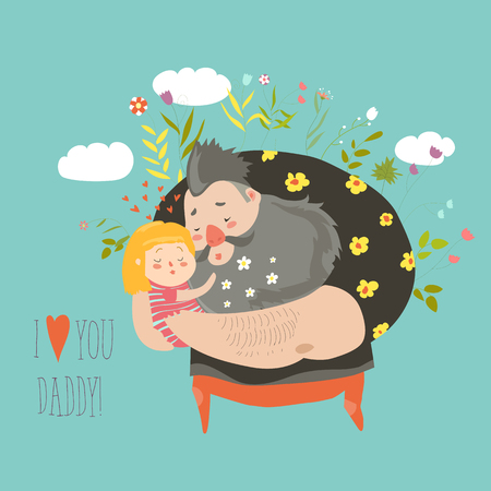Daughter hugging her father 免版税图像 - 79896172