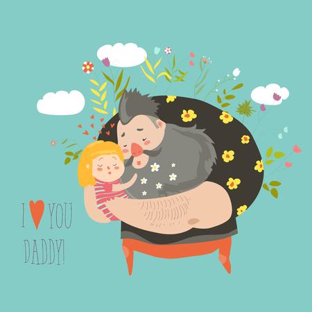 Daughter hugging her father 版權商用圖片 - 79896172