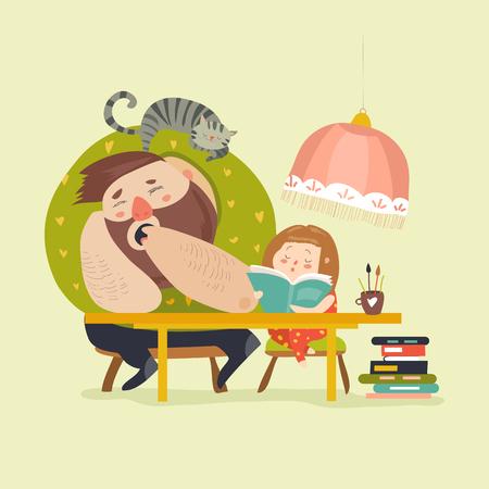 Fille avec papa faisant ses devoirs Vecteurs