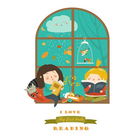 Nette Mädchen lesen Buch am Fenster Standard-Bild - 81519374
