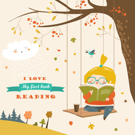 かわいい女の子と揺れ、秋の公園で本を読んで  イラスト・ベクター素材