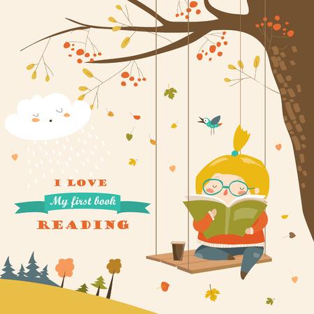Leuk meisje zwaaien en leest een boek in de herfstpark Stock Illustratie