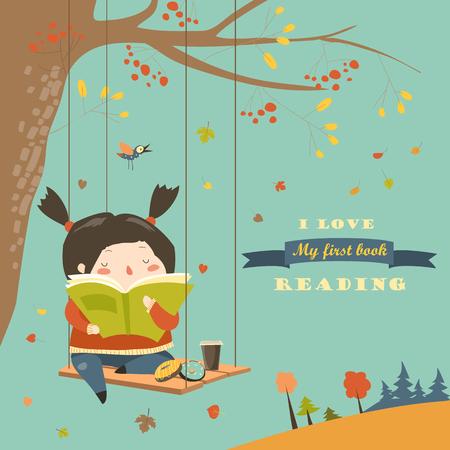 귀여운 소녀 스윙 하 고가 공원에서 책을 읽고. 벡터 일러스트 레이 션