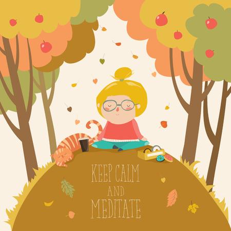 가을 공원에서 요가 연습 귀여운 소녀