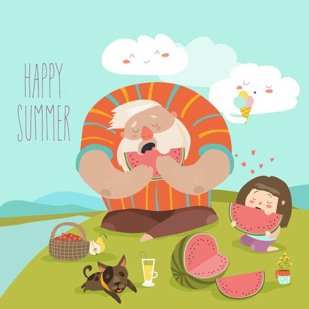 Papa en zijn dochter eten watermeloen op picknick