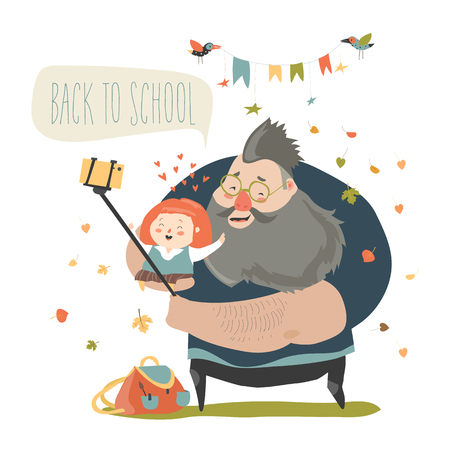 Little girl making selfie with her father. Back to school. Vector illustration  イラスト・ベクター素材