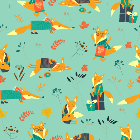 Cute foxes seamless pattern with autumn leaves