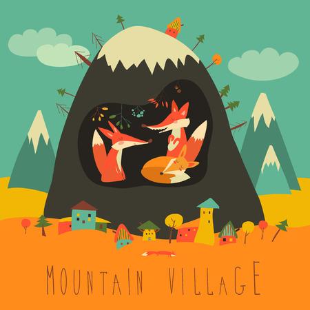 Leuk dorp bij de berg met vossen in de grot
