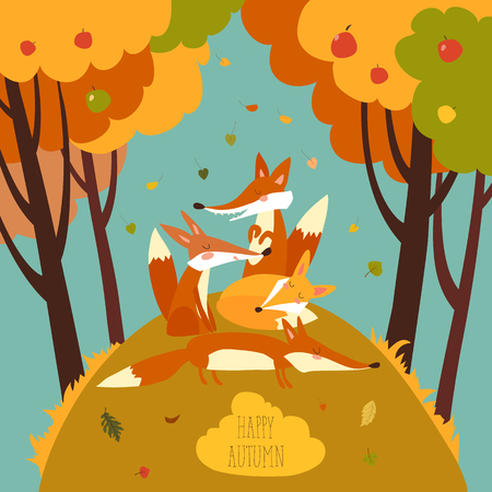 Cute foxes in autumn forest Ilustrace