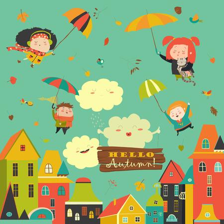 Gelukkige kinderen die vliegen met paraplu's onder de stad