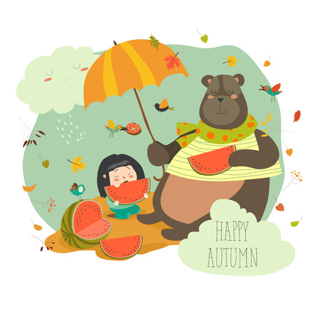 Cute girl with bear eating watermelon
