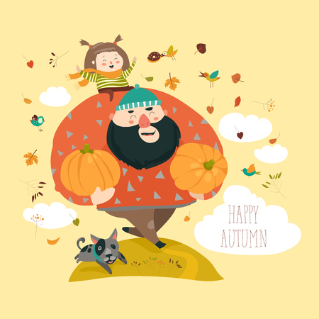 Dad and his daughter with pumpkin. Stock Vector - 83652780