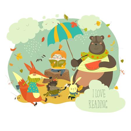 Leuk meisje lezen boek aan wilde dieren Stock Illustratie