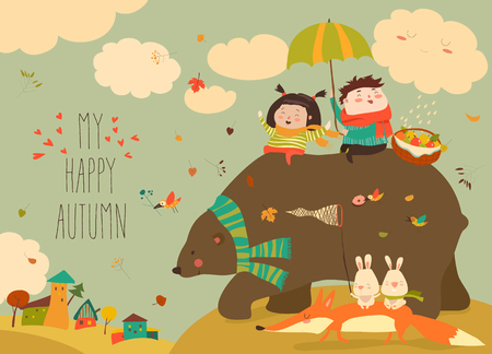 Happy kids with bear and fox in autumn forest Ilustrace