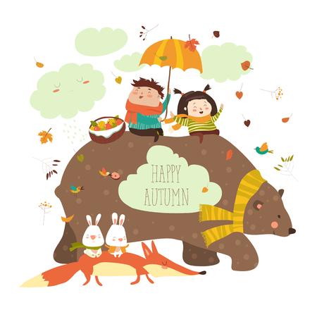 Happy kids with bear and fox Stock Vector - 83921004