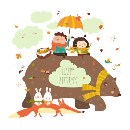 Niños felices con el oso y el zorro Foto de archivo - 83921004