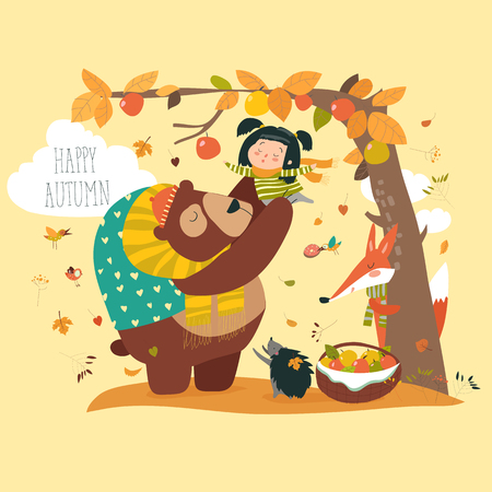 Funny bear with cute girl harvesting apples