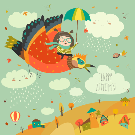 Little girl flying in the sky with funny birds
