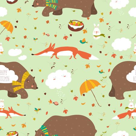 Herfst bos naadloze patroon met schattige dieren