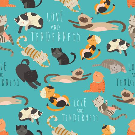 Seamless pattern family of cats