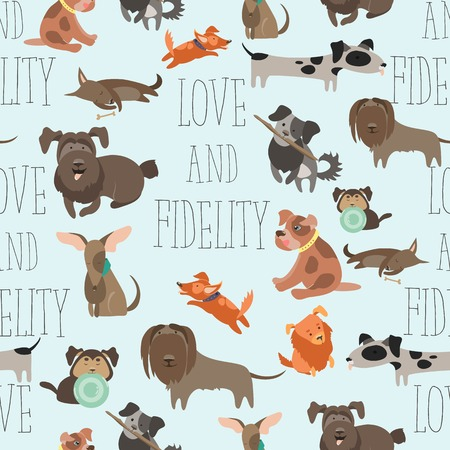 Seamless pattern funny Mixed Breed dogs Illustration