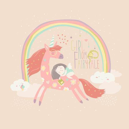 Ragazza cartoon carino con unicorno Illustrazione vettoriale. Archivio Fotografico - 84351378