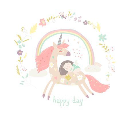 Cute cartoon girl with unicorn vector illustration.