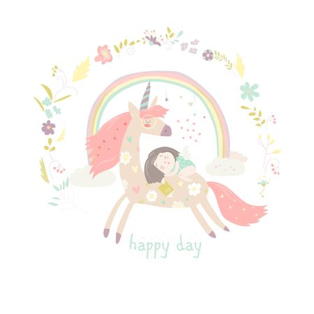 Cute cartoon girl with unicorn vector illustration.