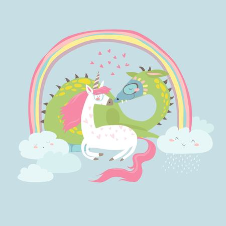 Cute cartoon dragon with unicorn