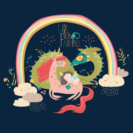 Cute cartoon dragon, unicorn and little princess