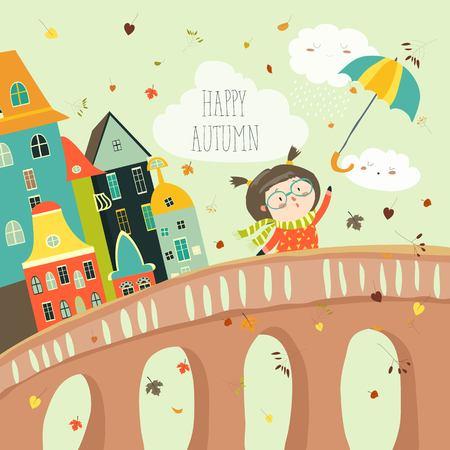 悪い天気で傘を持つ少女は、秋の市