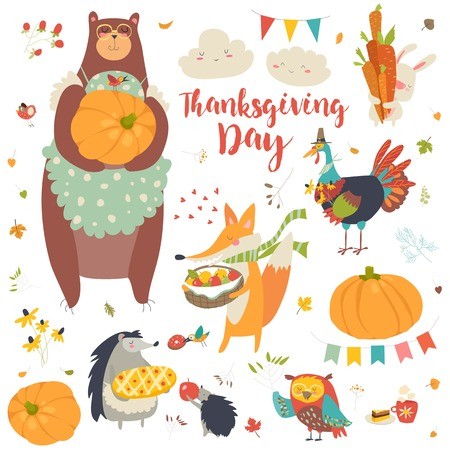 Thanksgiving set with cute forest animals Stock Vector - 84878894