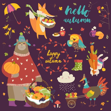 hi hat: Set of cute autumn cartoon characters, plants and food