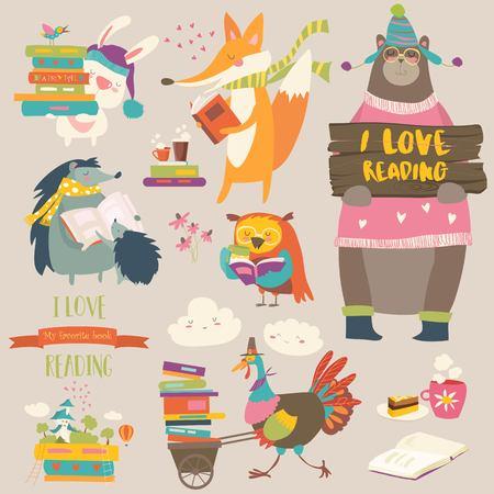 Conjunto de animales de dibujos animados leyendo libros Ilustración de vector