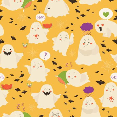 Seamless pattern fantasmi emoticon halloween Archivio Fotografico - 85330097