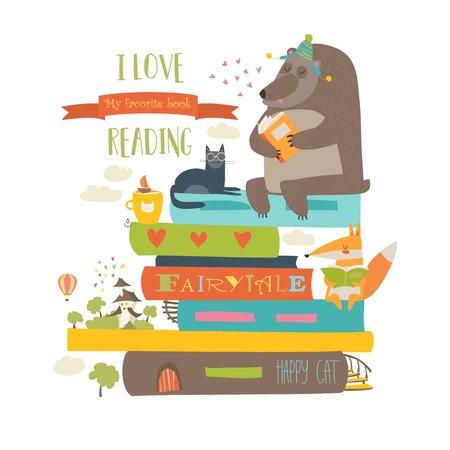 귀여운 만화 동물 책을 읽고