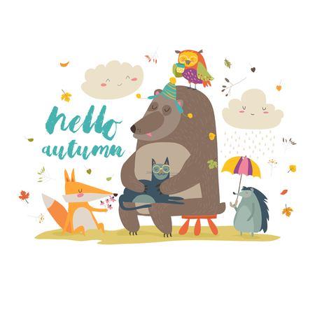 Hello autumn background with cute animals Illustration