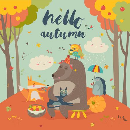 Hello autumn background with cute animals Illustration