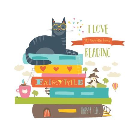 本と猫とおとぎ話の概念 写真素材