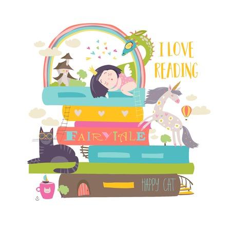 Sprookje concept met boek, eenhoorn, draak, prinses en middeleeuws kasteel
