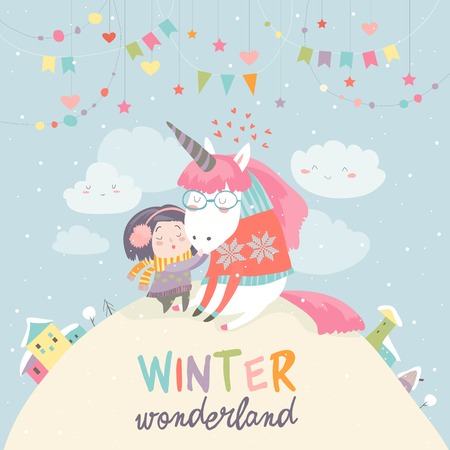 Cute girl hugging unicorn. Winter wonderland Illustration