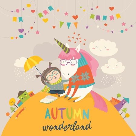 Ragazza carina che abbraccia unicorno, disegno autunno wonderland design Archivio Fotografico - 86487670