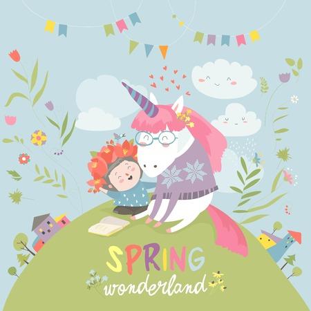 Cute girl hugging unicorn. Spring wonderland