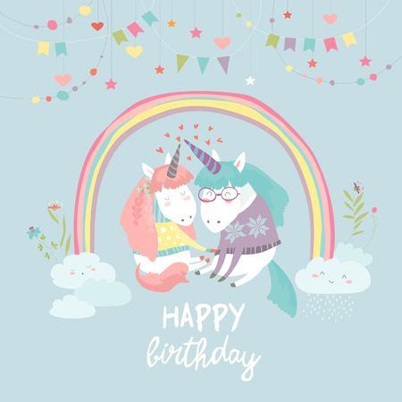 Cute card with fairy unicorns in love