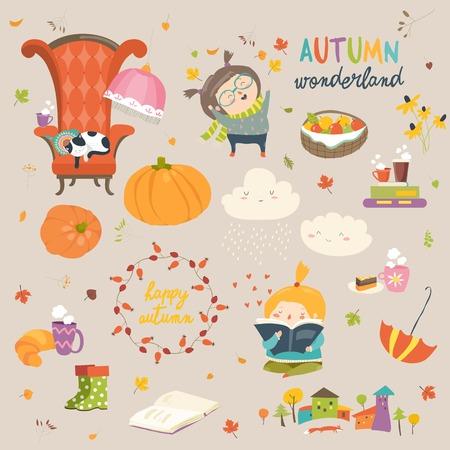Cartoon autumn set