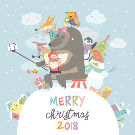 Cute animals with Santa Claus take a selfie Illustration