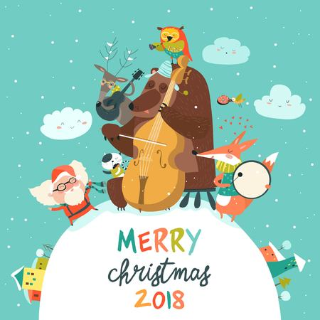 Vector Merry christmas card with animals, Santa and music