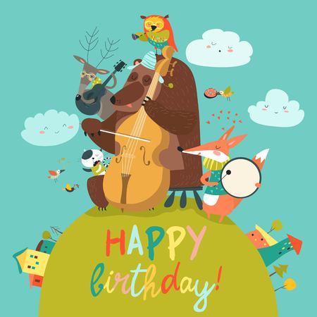 Carta di compleanno sveglia con animali e musica. Archivio Fotografico - 87791381